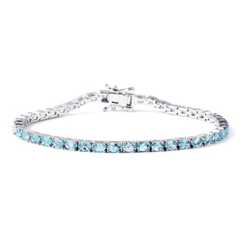 8.25 Ct Neon Blue Apatite Tennis Bracelet in Sterling Silver 7 Inch
