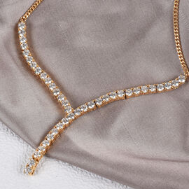 J Francis 14K Gold Overlay Sterling Silver Necklace (Size 18) Made with SWAROVSKI ZIRCONIA 11.51 Ct, Silver wt 10.64 Gms