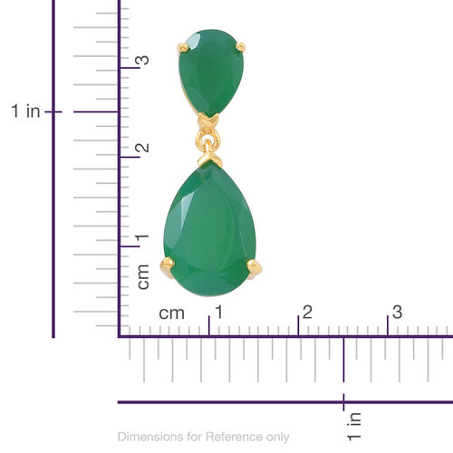 Verde Onyx (Pear) Earrings (with Push Back) in 14K Gold Overlay Sterling Silver 12.000 Ct.