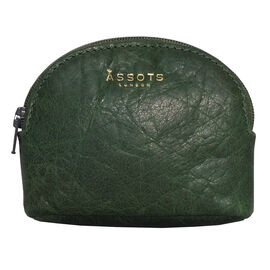 Assots London Lotty 100% Genuine Leather Zip Top Coin Purse in Green (Size 10x2x8.5 Cm)
