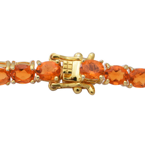 Jalisco Fire Opal and Diamond Bracelet (Size 7.5) in Yellow Gold Overlay Sterling Silver 8.22 Ct, Silver wt 10.40 Gms