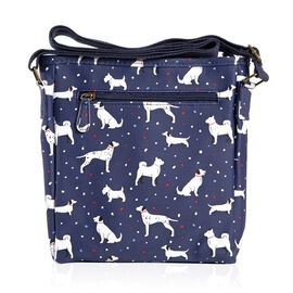 Navy Blue Colour Dog Pattern Water Resistant Crossbody Bag with Adjustable Shoulder Strap (Size 24x22x4 Cm)