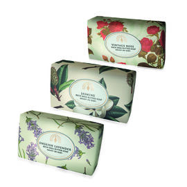 THE ENGLISH SOAP COMPANY- Vintage Italian wrapped 3 x 200g Soap Collect Floral- Jasmine, Vintage Rose and Lavender- Estimated delivery within 5-7 working days
