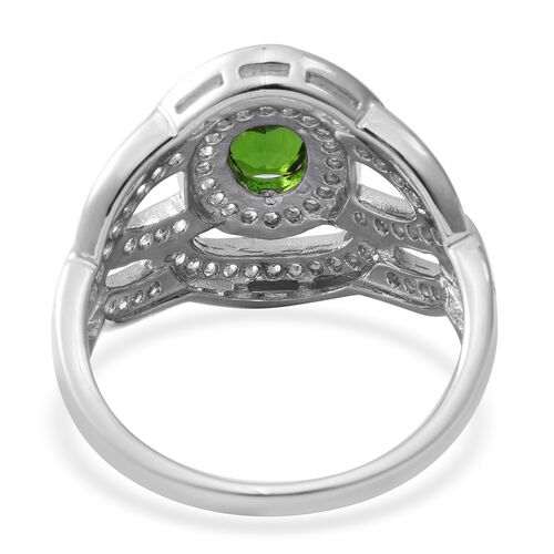 Designer Inspired- Russian Diopside (Ovl 1.240 Ct), White Topaz Ring in Rhodium Overlay Sterling Silver 3.080 Ct, Silver wt 5.10 Gms.