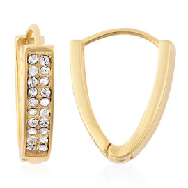 J Francis White Crystal from Swarovski V Shape Hoop Earrings in Yellow Gold Plated Silver