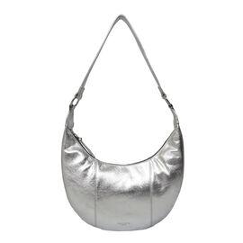 ASSOTS LONDON Layla Genuine Pebble Grain Leather Hobo Shoulder Bag - Silver
