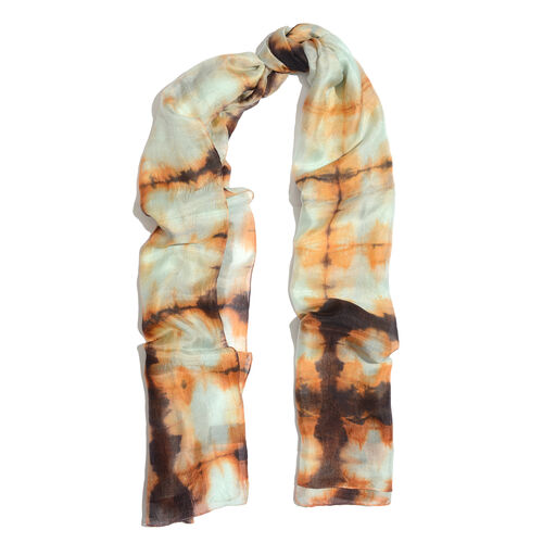 100% Mulberry Silk Cream, Orange and Multi Colour Handscreen Printed Scarf (Size 180x90 Cm)