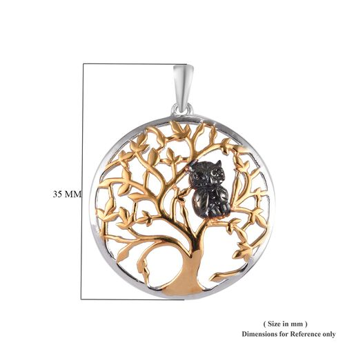 Boi Ploi Black Spinel (Rnd) Tree and Owl Pendant in Yellow Gold, Platinum and Black Plated Overlay Sterling Silver