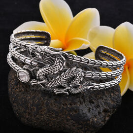 Royal Bali Collection - Polki Diamond Dragon Cuff Bangle (Size 7.5) in Sterling Silver 0.75 Ct., Silver wt 34.00 Gms.