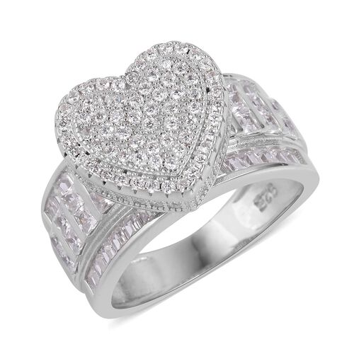 ELANZA Simulated White Diamond Heart Ring in Rhodium Plated Sterling Silver, Silver wt 6.44 Gms.