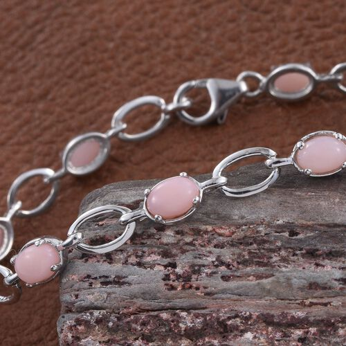Natural Peruvian Pink Opal (Ovl) Bracelet (Size 7.5) in Platinum Overlay Sterling Silver 4.250 Ct.
