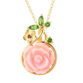 Pink Mother of Pearl (4.00 Ct),Russian Diopside,Mozambique Garnet Sterling Silver Pendant With Chain