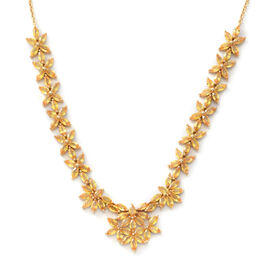 Yellow Sapphire (Mrq) Necklace (Size 18) in Yellow Gold Overlay Sterling Silver 17.820 Ct. Silver wt 17.75 Gms.