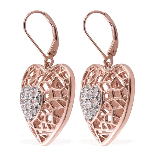 J Francis - Rose Gold Overlay Sterling Silver Heart Lever Back Earrings Made with SWAROVSKI ZIRCONIA, Silver wt 10.85 Gms.