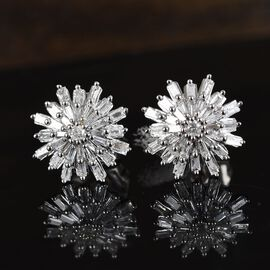 0.50 Ct Diamond Snowflake Stud Earrings in 9K White Gold SGL Certified I3 GH