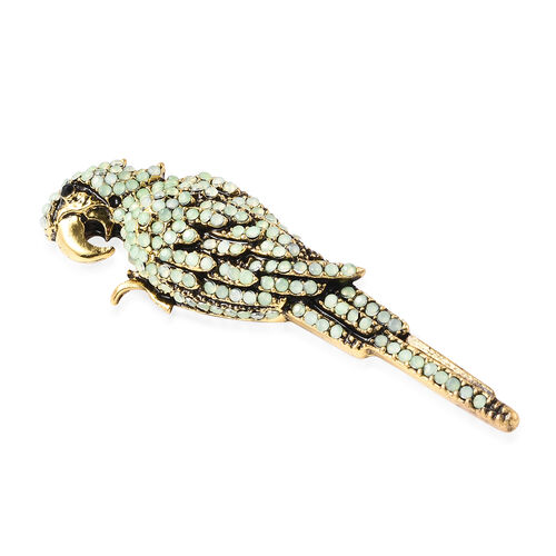 Simulated Green Jade and Black Austrian Crystal Parrot Brooch in Gold Tone