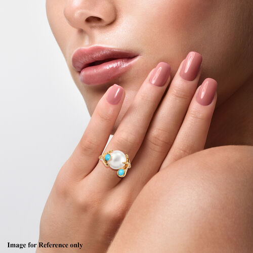 Sundays Child - Freshwater Pearl and Arizona Sleeping Beauty Turquoise Ring in 14K Gold Overlay Sterling Silver