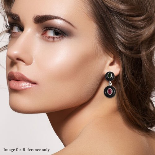 GP - Black Obsidian, African Ruby and Multi Gemstone Drop Earrings (with Push Back) in Rhodium Overlay Sterling Silver 37.79 Ct.