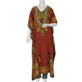 Tribal Printed Kaftan (Size 81.28x121.92 Cm) - Red Colour
