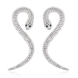 Black and White  Austrian Crystal (Rnd) Snake Earrings (with Push Back) in Silver Plated