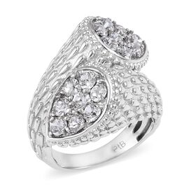 J Francis - Crystal from Swarovski White Colour Crystal (Rnd) Bypass Design Ring in Platinum Plated