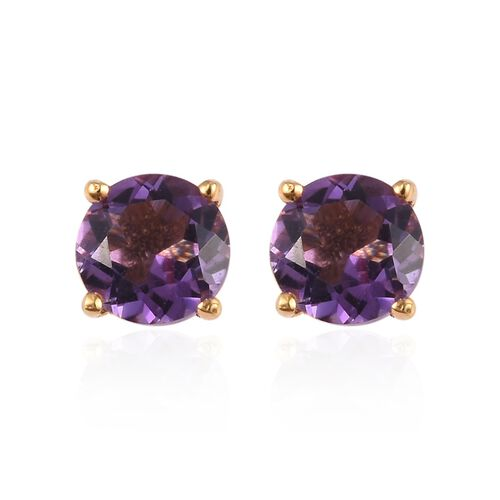 Set of 2 -  Amethyst Stud Earrings and Pendant with Chain (Size 18) in 14K Yellow Gold Overlay Sterling Silver 1.40 Ct.