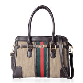 Close Out Deal Beige, Dark Brown and Multi Colour Tote Bag with Removable Shoulder Strap (Size 29x21x11 Cm)