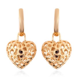 RACHEL GALLEY Tanzanite Lattice Heart Drop Earrings in Gold Plated Sterling Silver
