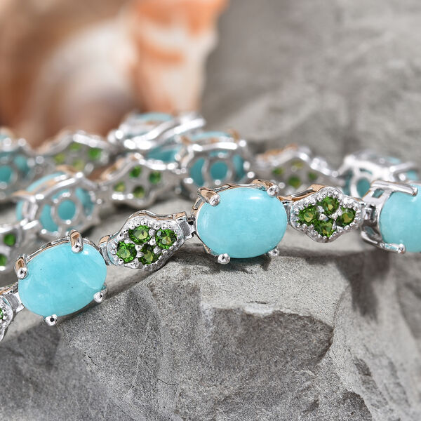 Peruvian Amazonite (Ovl), Russian Diopside Bracelet (Size 7.5) in Platinum Overlay Sterling Silver 15.750 Ct, Silver wt 12.52 Gms