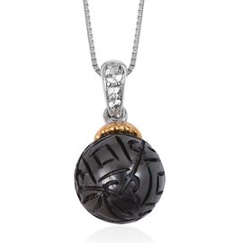 Hand Carved Tahitian Pearl (Rnd 10-11mm), Natural Cambodian Zircon Pendant with Chain in Rhodium and