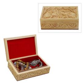 Handmade Elephant Pattern Carved Wooden Storage Box (Size 15x10x5Cm)