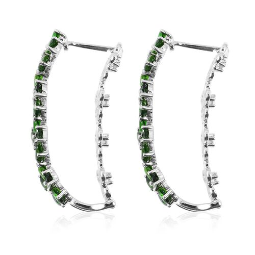 Designer Inspired - Russian Diopside (Pear), Natural White Cambodian Zircon Flower Earrings (with Clasp Lock) in Rhodium Overlay Sterling Silver 8.070 Ct.