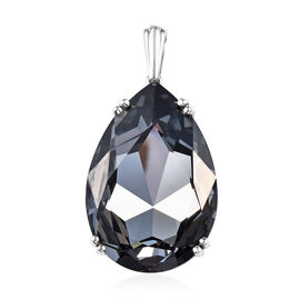 J Francis - Crystal from Swarovski Silver Night Crystal (Pear 40x27 mm) Solitaire Pendant in Platinu