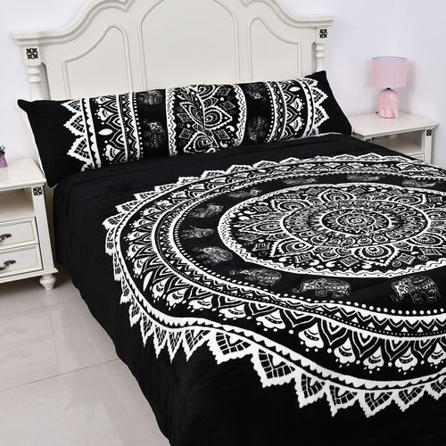 3 Piece Set - Dual Layer Faux Down Filled Sherpa Comforter (230x250 cm) and 2 Pillow Cases - Black a
