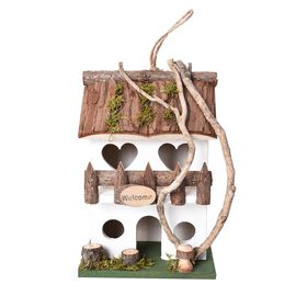 Handmade Wooden Bird House (Size 18x12x18 Cm) - White