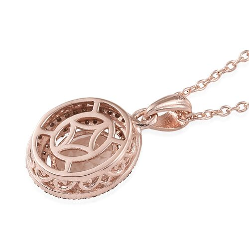 Rare Size Marropino Morganite (Ovl9X7 1.65 Cts), Natural Champagne Diamond (Rnd 0.35 Cts) Pendant with Chain in Rose Gold Overlay Sterling Silver 2.000 Ct.