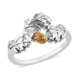 Yellow Diamond (Rnd) Oak and Acorn Ring in Platinum and Yellow Gold Overlay Sterling Silver, Silver