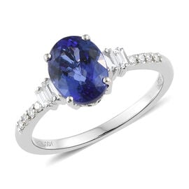 Rhapsody AAAA Tanzanite (2.60 Ct) and Diamond (VS/E-F) 950 Platinum Ring  2.750 Ct