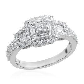 ILIANA 18K White Gold IGI Certified Diamond (SI/G-H) (Sqr and Bgt) Ring 1.000 Ct.