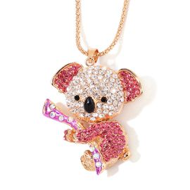 Multicolour Austrian Crystal Koala Bear Enamelled Pendant With Chain in Gold Tone