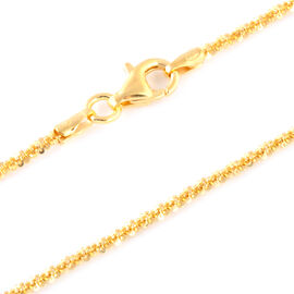 Italian Made 14K Gold Overlay Sterling Silver Diamond Cut Rock Necklace (Size 30),Silver Wt 5.26 Gms.