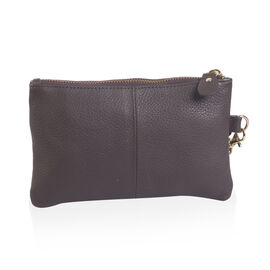 100% Genuine Leather Dark Brown Wristlet (Size 19x12 Cm)