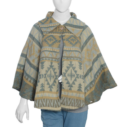 Designer Inspired- Beige and Multi Colour Geometrical Woven Pattern Jacket (Size 115x65 Cm)
