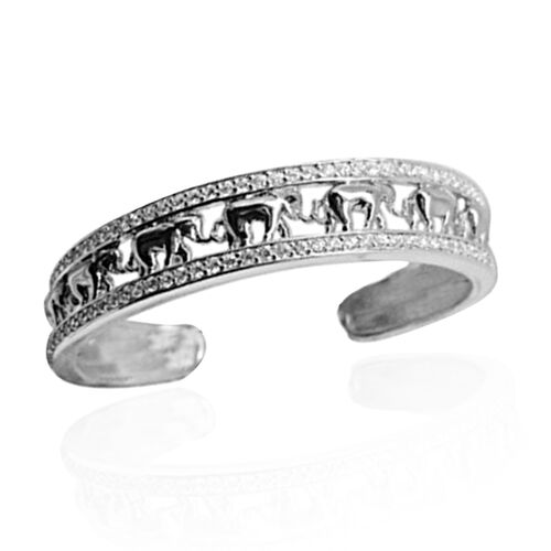 ELANZA AAA Simulated Diamond (Rnd) Elephant Cuff Bangle (Size 7.5) in Yellow Gold and Rhodium Plated
