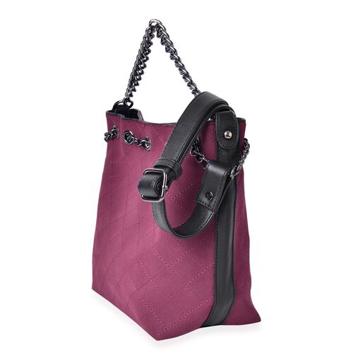 Set of 2 - Burgundy Colour Handbag with Chain Strap (Size 31X27X21X11 Cm) and Black Pouch (Size 22X18X9 Cm)