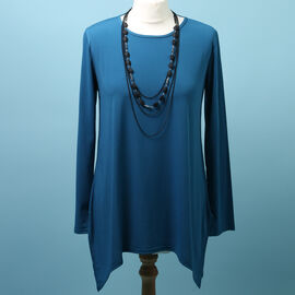 Pure and Natural Soft Long Sleeve Top with Matching 30 Inch Necklace in Teal Green (Length:66cm)