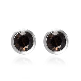 Brazilian Smoky Quartz (Rnd) Stud Earrings (with Push Back) in Platinum Overlay Sterling Silver 1.50