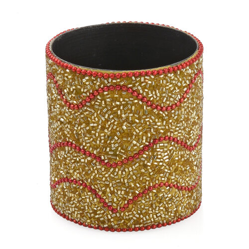 Hand Crafted Crystal Embellished Gold  Colour 10 Pen and Holder Set