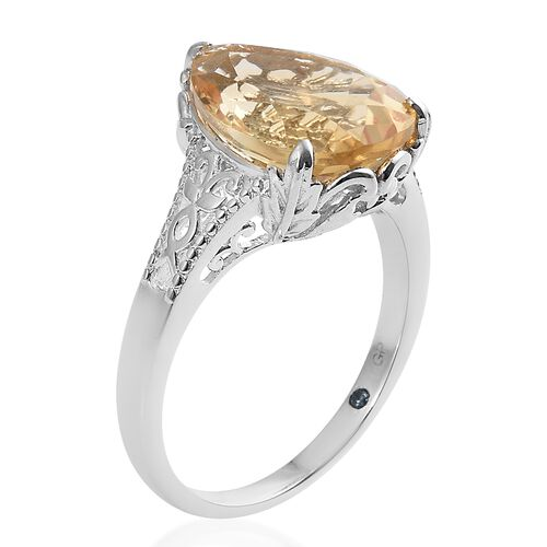 GP Citrine (Pear), Kanchanaburi Blue Sapphire Ring in Platinum Overlay Sterling Silver 6.500 Ct.