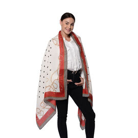 Polka Dot Pattern Scarf in WHite and Red Border (80x180cm)